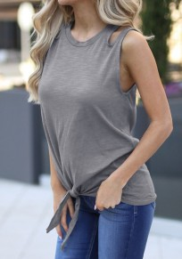 Grey Cut Out Knot Round Neck Casual Going out Vest
