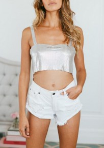 Silver Shoulder-Strap Backless Bronzing Sparkly Crop Clubwear Cocktail Party Vest