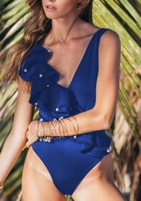 Maillot de bain à volants décolleté plongeant dos nu une pièce mode femme bleu