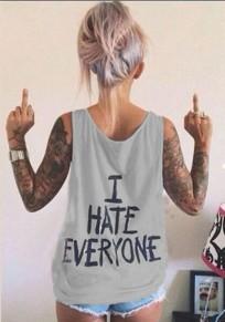 Grau Schrift I HATE EVERYONE Drucken Schulterriemen Rundhals Ärmellos Weste Tanktop T-shirt Damen Strassenmode
