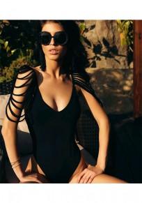 Black Plain Cut Out Plunging Neckline Fashion Swimwear