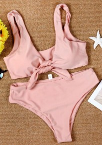 Pink Plain Ribbons Midriff 2-in-1 V-neck Fashion Swimwear