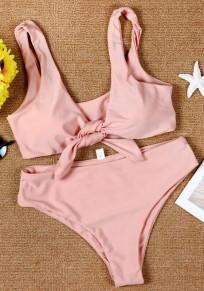 Traje de baño liso cintas midriff 2-en-1 v-cuello de moda rosa