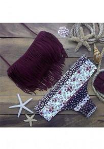 Traje de baño borla floral cinturón condole 2-en-1 púrpura oscuro