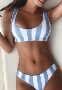Blau Weiß Gestreiftes Beide Seiten Tragen 2 Teiliges Multiway Rückenfreies Ausgefallene Süße Bademode Damen Bikini Sets