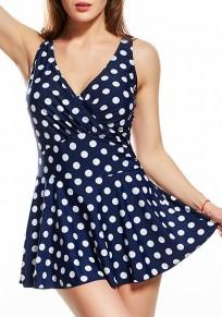 Marineblau Punkt Druck Gefaltete V-Ausschnitt Mode Bademode Damen Tankini Kleid mit Rock
