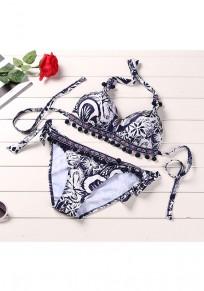 Marineblaue Blumen Krawatte zurück Ernte 2-in-1 Mode Bademode