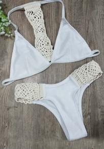 Weiß Flickwerk Midriff 2-in-1 V-Ausschnitt Mode stricken Bademode