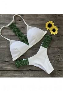 Costumi da bagno maglia con collo A V 2 in 1 verde militare