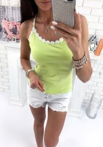 Yellow Lace Round Neck Sleeveless Fashion Vest