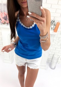 Sapphire Blue Lace Round Neck Sleeveless Fashion Vest