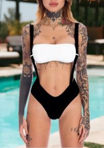 Schwarze Schulter Strap Cut Rückenfrei Ein Stück Strandwear Bademode