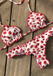 Weiß Strawberry Blumen Schößchen Tie Zurück 2-in-1 V-Ausschnitt Bademode