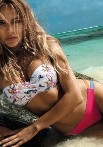 White Floral Tie Back Studded 2-in-1 V-neck Swimwear