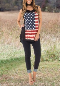 Black American Flag Print Irregular Independence Day High-low Casual Vest
