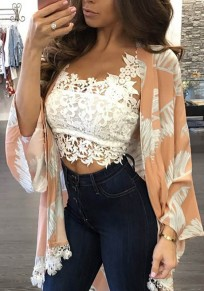 White Floral Cut Out Lace Fashion Vest