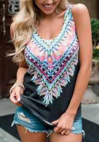 Black Tribal Floral Pattern Backless U-neck Bohemian Casual Vest
