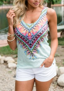 Light Green Tribal Floral Pattern Backless U-neck Bohemian Casual Vest