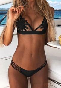 Black Lace Cut Out Condole Belt 2-in-1 V-neck Fashion Swimwear