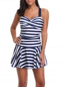 Blau weiße gestreifte Druck drapierte Schulter Bügel Strandwear beiläufige Badebekleidung