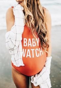 Maillot de bain de enceinte chiffres une pièce grossesse mode femme orange