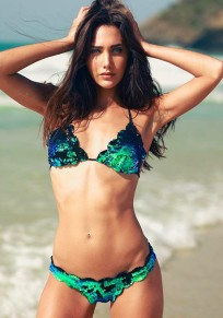 Green Sequin Condole Belt 2-in-1 V-neck Fashion Swimwear