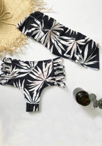 Navy Blue Floral Bandeau Cut Out 2-in-1 Swimwear