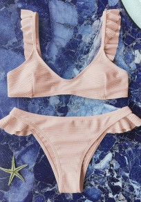 Pink Condole Belt Ruffle 2-in-1 V-neck Sweet Swimwear