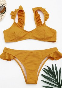 Yellow Condole Belt Ruffle 2-in-1 V-neck Sweet Swimwear