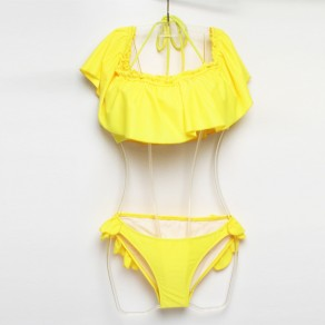 Yellow 2-in-1 Ruffle Drawstring Boat Neck Sweet Swimwear