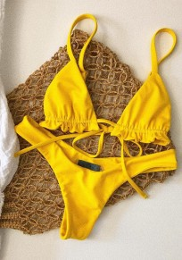 Yellow Condole Belt Tie Back Pleated 2-in-1 V-neck Fashion Swimwear