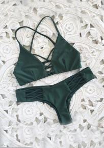 Traje de baño corte cruzado 2 en 1 v-cuello moda verde