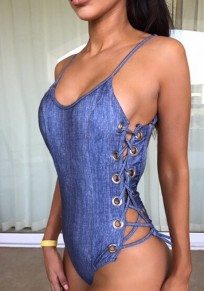 Blue Cross Drawstring Lace-up Spaghetti Strap Backless Deep U-neck Beachwear Swimwear