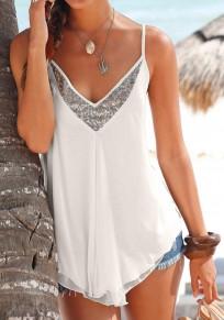 White Patchwork Sequin Ruffle Condole Belt V-neck Vest