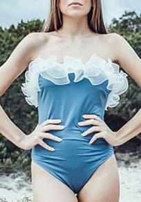 Blau Rüschen Bandeau Rückenfreies Einteilig Schwimmanzug Bodycon Bademode Damen Badeanzug Strandmode Günstig