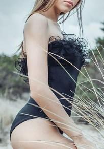 Schwarz Rüschen Bandeau Rückenfreies Einteilig Schwimmanzug Bodycon Bademode Damen Badeanzug Strandmode Günstig