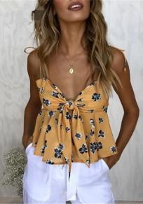 Chaleco pajarita floral drapeada con cordones peplo sin espalda escote en V profundo dulce amarillo