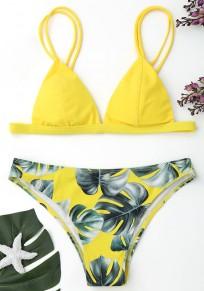 Yellow Floral Condole Belt 2-in-1 V-neck Fashion Swimwear