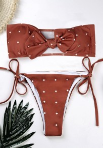 Traje de baño lunares pajarita cinta para el pelo cordón 2 en 1 rojo hierro