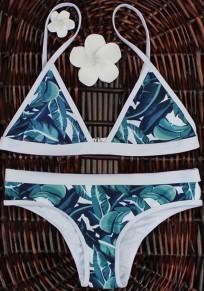 Blau Blumen Condole Gürtel 2-in-1 V-Ausschnitt Mode Bademode