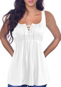 Débardeur avec à lacets col carré sans manches mode décontracté femme tops blanc