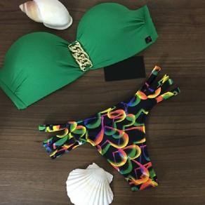 Maillot de bain imprimé dos nu pièces bandeau à àv-col mode vert coloré