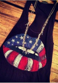 Black Lips The Stars And Striped Print Independence Day Casual Vest