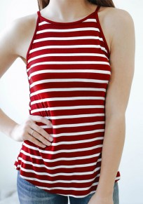 Red-White Striped Print Round Neck Casual Vest