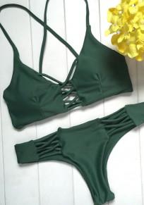 Green Ausgeschnitten Kreuz zurück rückenfreie V-Ausschnitt Mode Bademode