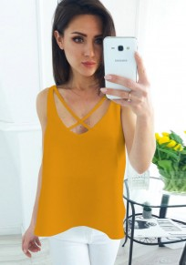 Yellow Cut Out Backless V-neck Casual Vest