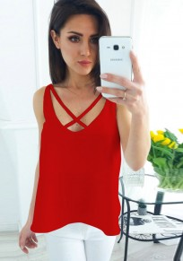 Red Cut Out Backless V-neck Casual Vest