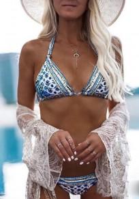 Blau Blumendruck Condole Gürtel Rückenfrei Zweiteiler V-Ausschnitt Mode Bademode