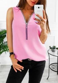 Rosa Reißverschluss V-Ausschnitt Mode Vest