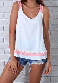 Pink Lace Ruffle Shoulder-Strap V-neck Casual Going out Vest